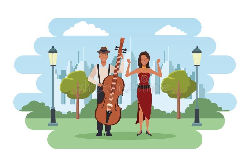 Músico que juega el bajo y el baile stock de ilustración