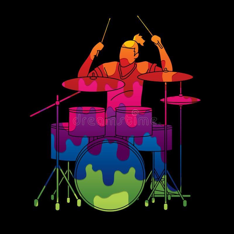 Músico que juega el tambor, banda de la música ilustración del vector