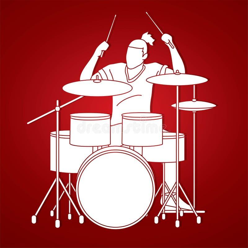 Músico que juega el tambor, gráfico de bandas de la música stock de ilustración