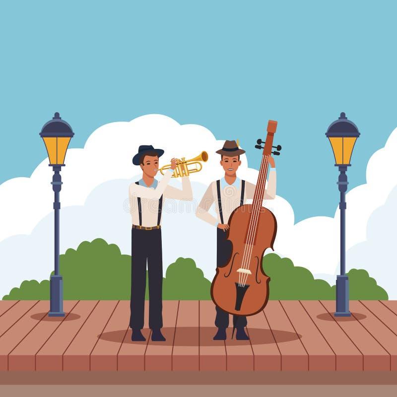 Músico que juega la trompeta y el bajo stock de ilustración