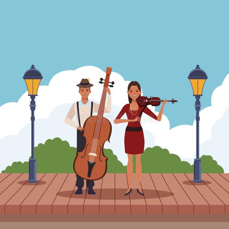 Músico que toca el bajo y el violín libre illustration