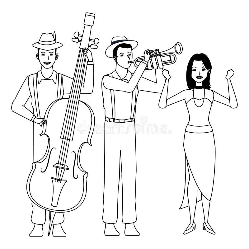 Músico que toca la trompeta baja y baile blanco y negro stock de ilustración