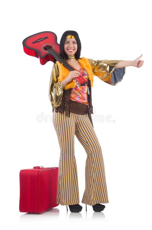 Músico que viaja con la maleta imagen de archivo
