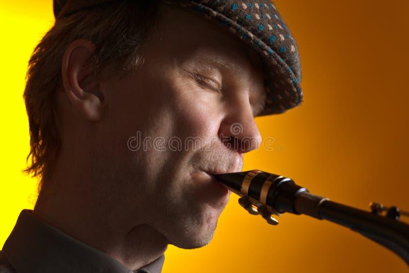 Músico With Saxophone fotografía de archivo