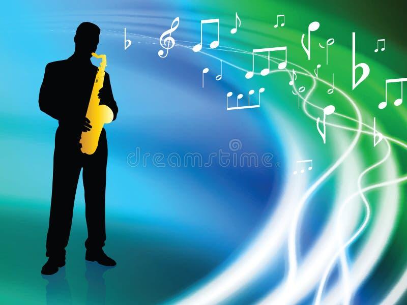 Músico vivo no fundo líquido abstrato da onda ilustração royalty free