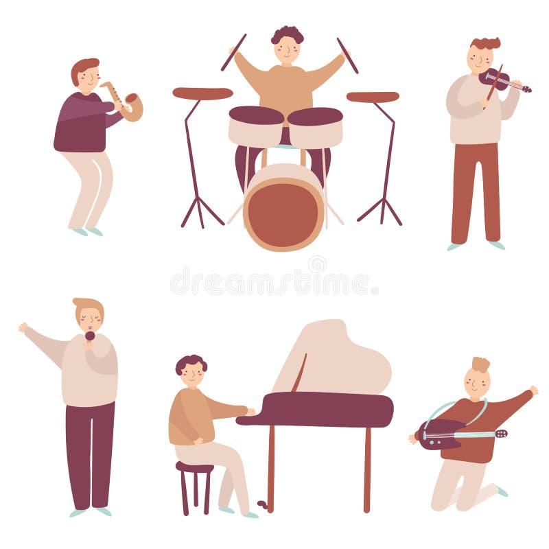 Músicos ajustados incluindo o saxofone, os cilindros, o piano, a guitarra, o violino e o cantor ilustração do vetor