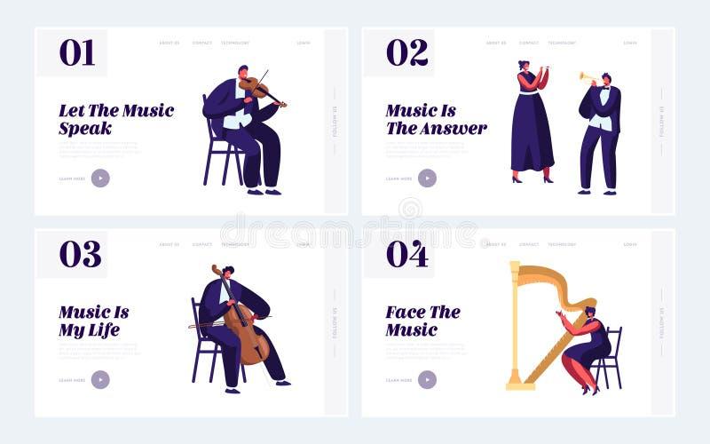 Músicos clássicos com grupo de aterrissagem da página do Web site dos instrumentos, concerto da música da orquestra sinfônica, vi ilustração do vetor