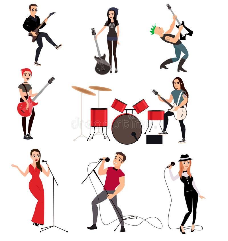 Músicos da rocha com guitarra ilustração stock