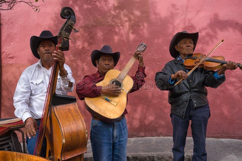 Músicos da rua em San Migueal de Allende México imagem de stock