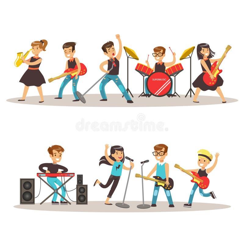Músicos das crianças que executam na fase na ilustração colorida do vetor da mostra do talento com o concerto talentoso dos aluno ilustração do vetor