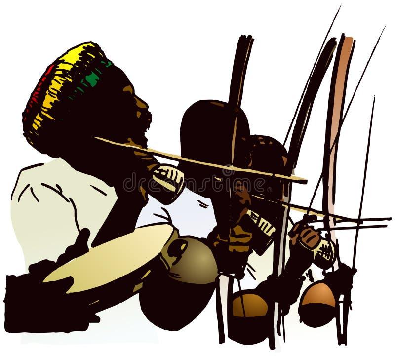 Músicos de Capoeira. ilustração do vetor