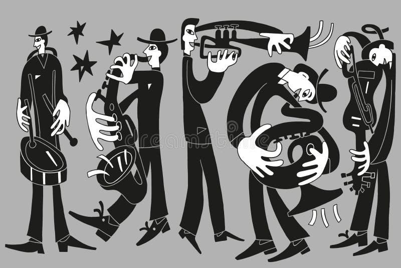 Músicos de jazz stock de ilustración