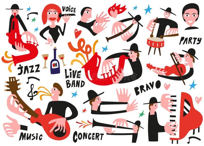 Músicos de jazz - ejemplo del vector libre illustration