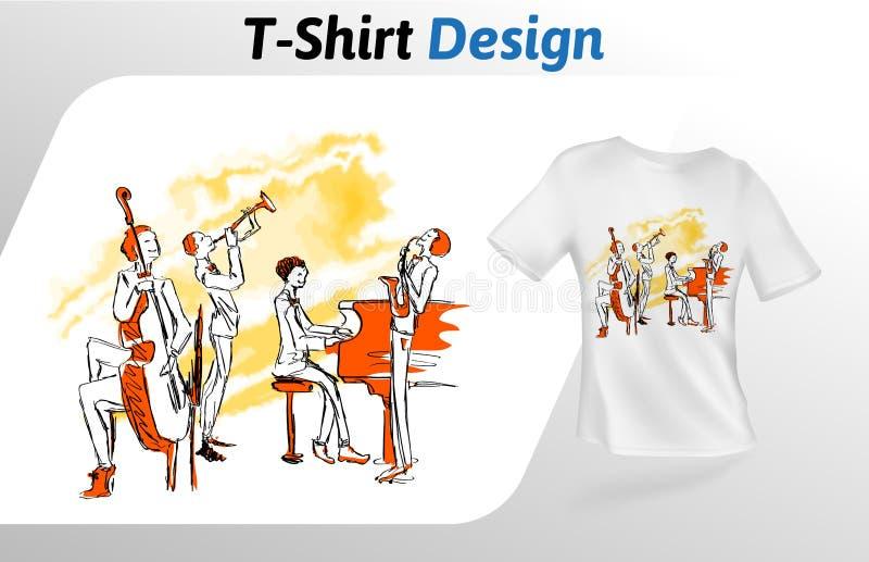 Músicos de jazz que juegan junto, impresión de la camiseta Mofa encima de la plantilla del diseño de la camiseta Plantilla del ve libre illustration