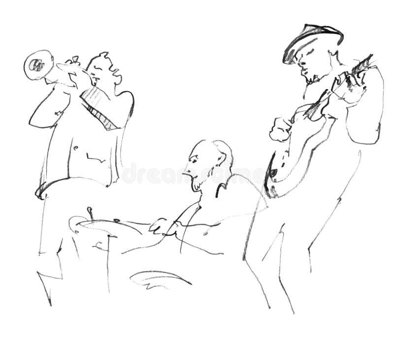 Músicos de jazz que juegan música stock de ilustración