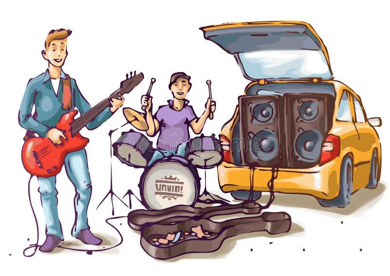 Músicos de la calle stock de ilustración