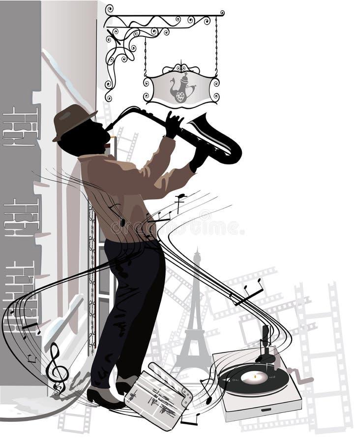 Músicos de la calle en la ciudad libre illustration
