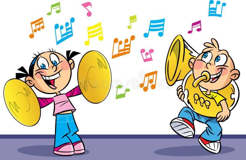 Músicos divertidos stock de ilustración