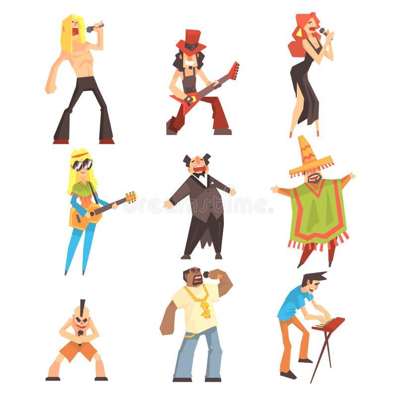 Músicos e cantores dos estilos diferentes da música que executam na fase no grupo do concerto de personagens de banda desenhada ilustração do vetor