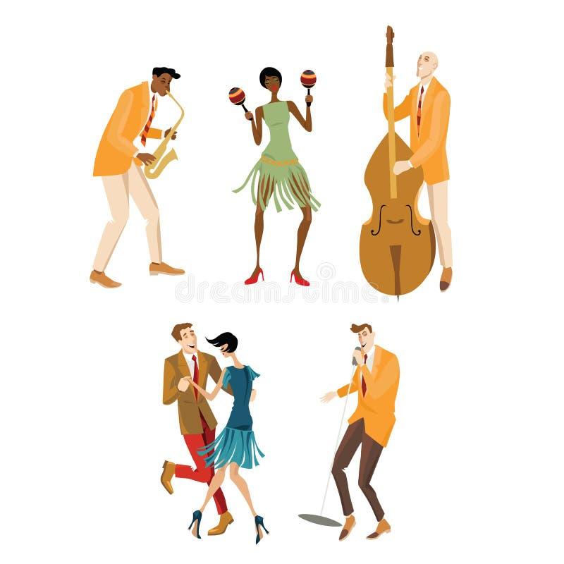 Músicos e um par que dança Charleston ilustração royalty free