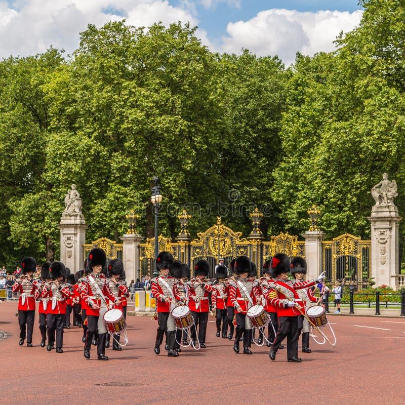 Músicos en el cambio del guardia Performance en Buckingham imágenes de archivo libres de regalías