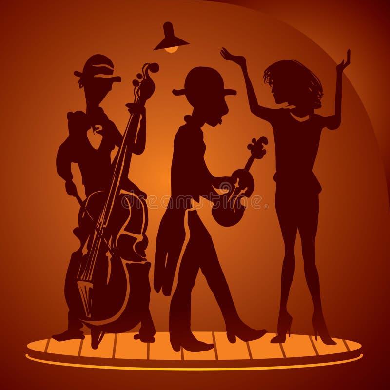 Músicos en una escena del cabaret stock de ilustración