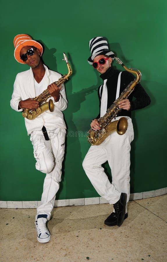 Músicos Funky, jogadores do saxo fotografia de stock royalty free