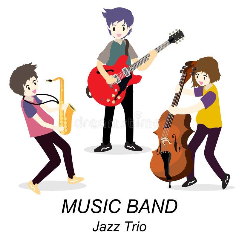 Músicos Jazz Trio, guitarra del juego, guitarrista a solas, bajista, saxofón Banda de jazz Ejemplo del vector aislado en fondo en stock de ilustración