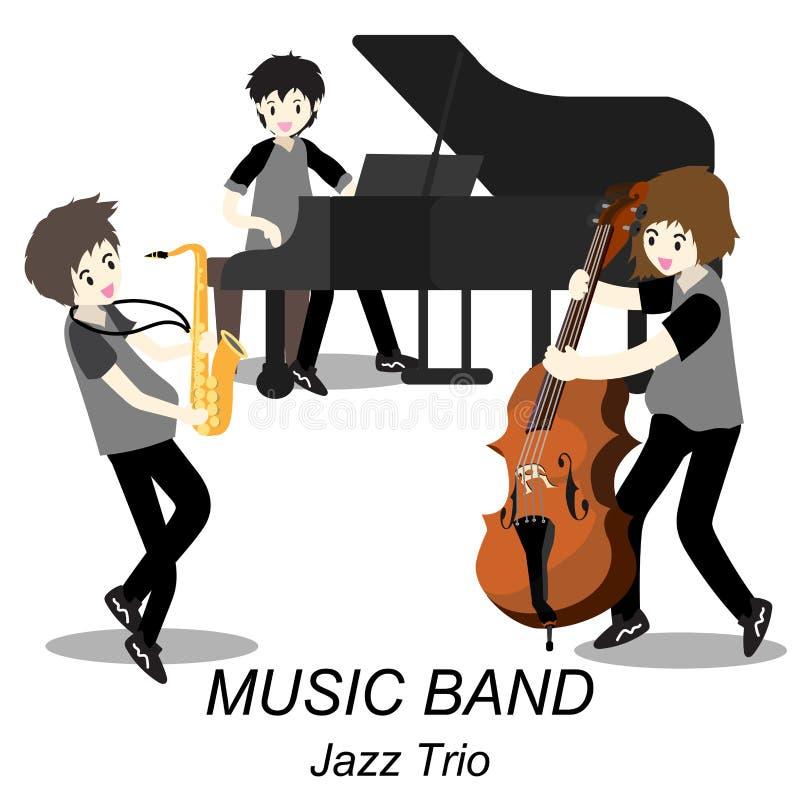 Músicos Jazz Trio, saxofón del juego, bajista, piano, Banda de jazz Vector el ejemplo aislado en fondo en estilo de la historieta ilustración del vector