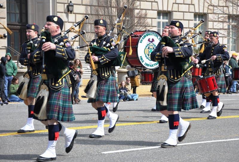 Músicos na parada do dia do St Patrick fotos de stock royalty free
