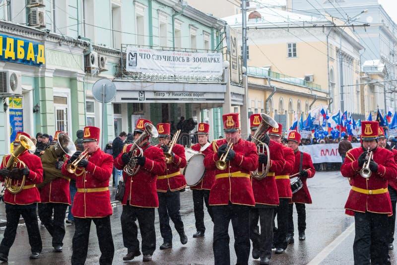 Músicos na reunião dos demonstradores do russo imagem de stock royalty free
