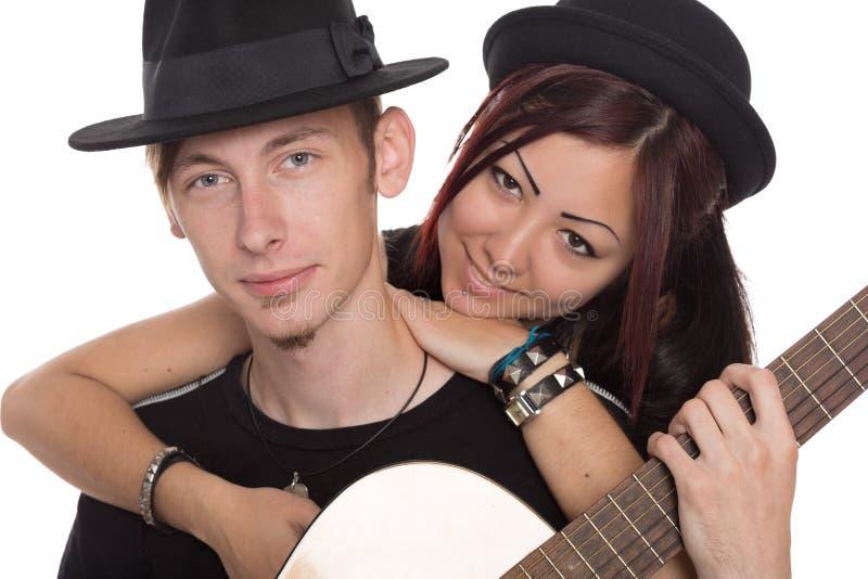 Músicos novos do retrato com guitarra fotografia de stock
