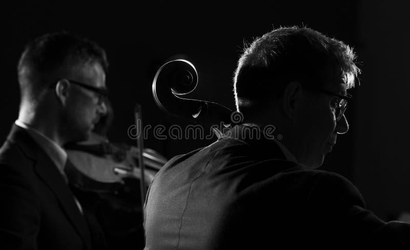 Músicos profesionales que juegan un concierto de la música clásica fotografía de archivo libre de regalías