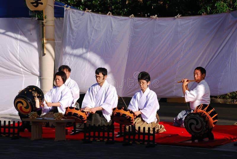Músicos tradicionais japoneses, Tokyo, Japão fotos de stock royalty free