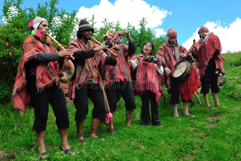 Músicos tradicionais peruanos fotografia de stock