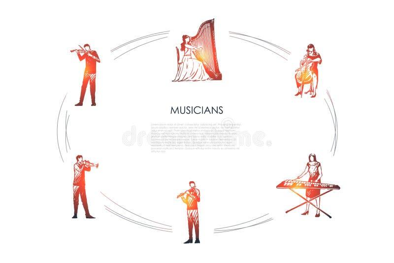 M?sicos - violinista, harpist, violoncelista, jogador do xilofone, flautista, grupo do conceito do vetor do bassoonist ilustração royalty free