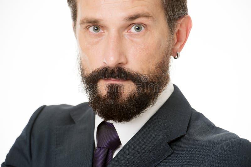 Mûr et expérimenté Calme masculin de visage sûr avec haut étroit de barbe et de moustache Gens d'affaires de code vestimentaire B images stock
