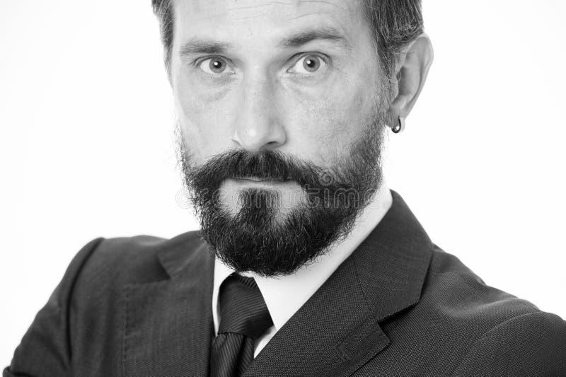 Mûr et expérimenté Calme masculin de visage sûr avec haut étroit de barbe et de moustache Gens d'affaires de code vestimentaire B image stock