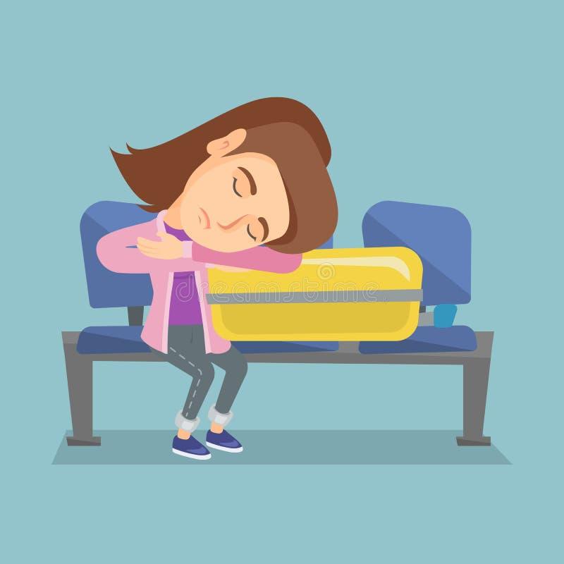 Müde Frau, die auf Koffer am Flughafen schläft lizenzfreie abbildung