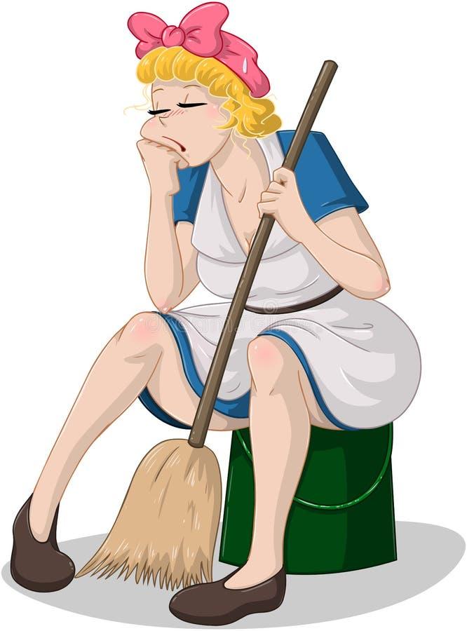 Müde Frau mit dem Besen, der auf Eimer sitzt lizenzfreie abbildung