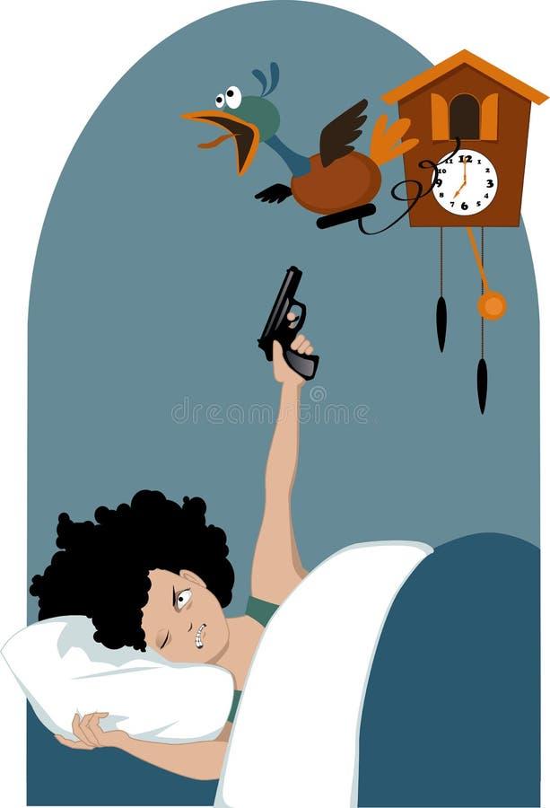 Müde Frau und eine Kuckucksuhr lizenzfreie abbildung