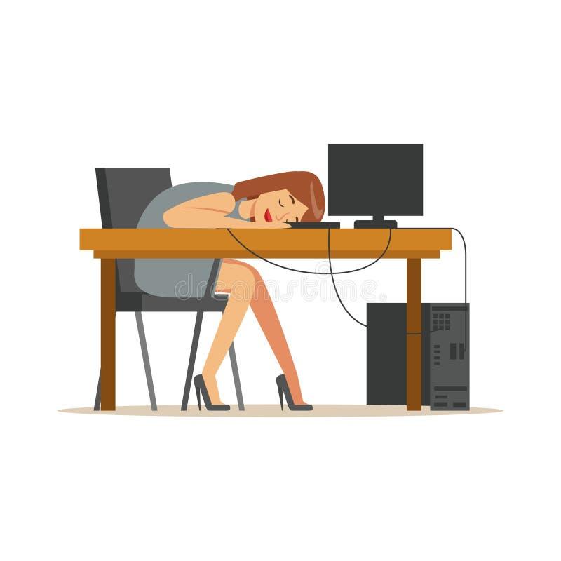 Müde Geschäftsfrau, die am Arbeitsplatz auf Laptoptastatur, erschöpfte entspannende Illustration Vektor des Büroangestellten schl lizenzfreie abbildung
