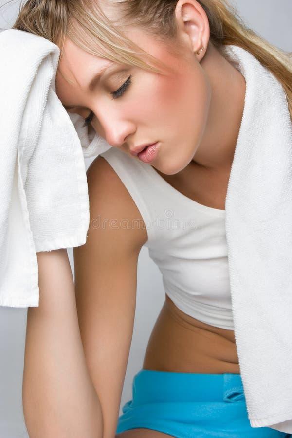 Müde Gesundheits-Frau stockbilder