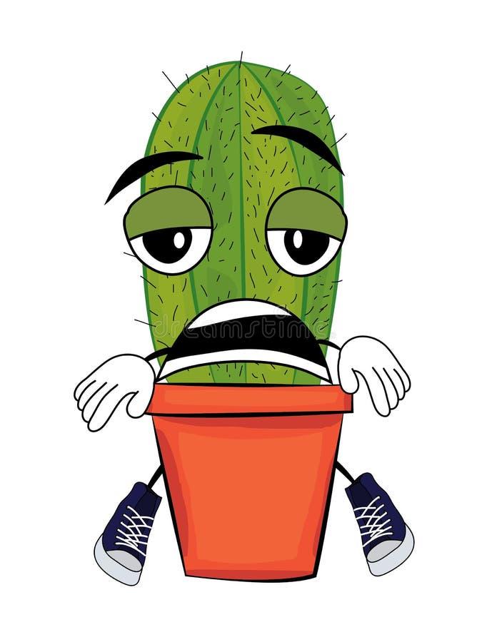 Müde Kaktuskarikatur vektor abbildung