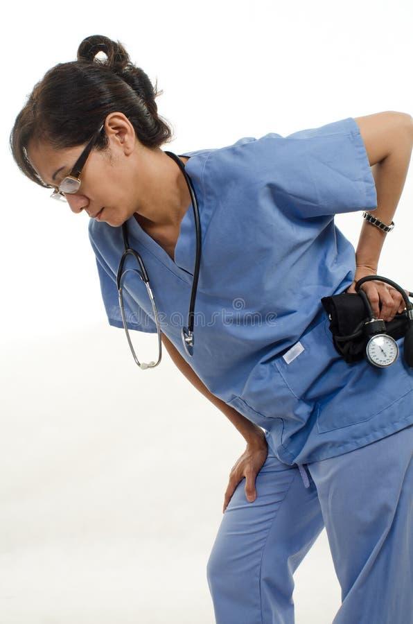 Müde Krankenschwester stockfoto
