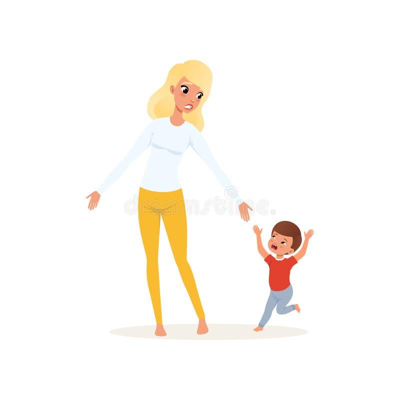 Müde Mutter und ihr schreiender kleiner Sohn, Erziehnungsdruckkonzept, Verhältnis zwischen Kindern und Elternvektor vektor abbildung
