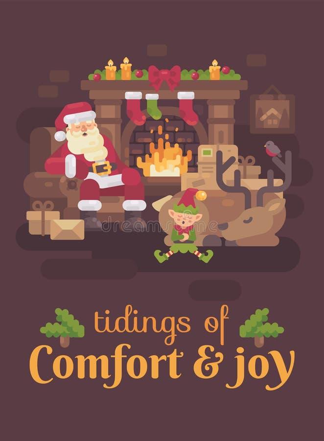 Müde Santa Claus mit seinem Ren und Elfe, die durch den Kamin nach einem harten Weihnachtstag schlafen Grußkarte des neuen Jahres vektor abbildung