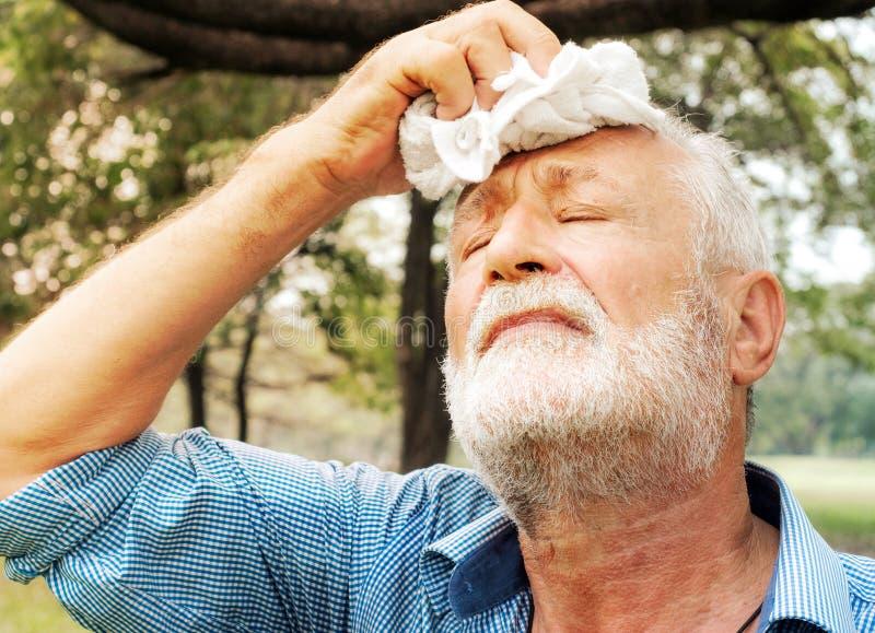 Müder abwischender Schweiß des älteren Mannes mit einem Tuch im Park, Gesundheitswesenkonzept stockfoto