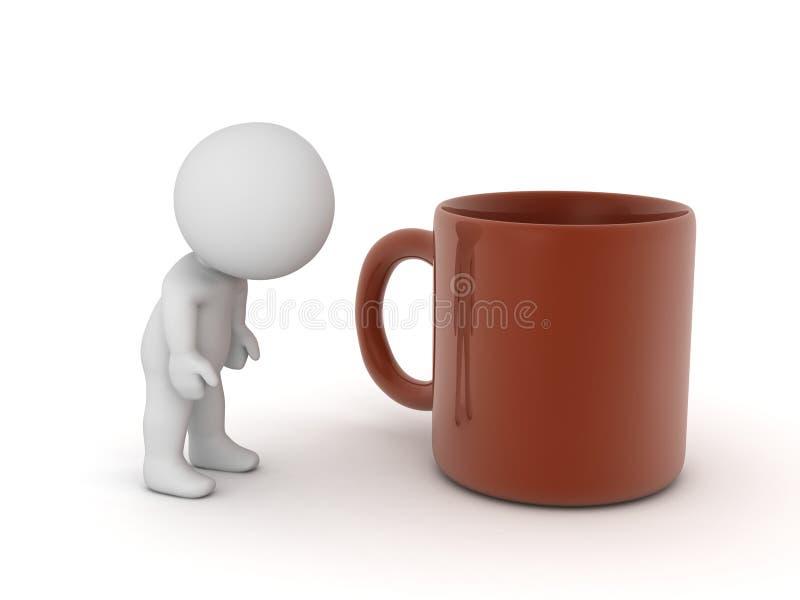 Müder Charakter 3D und große Kaffeetasse vektor abbildung