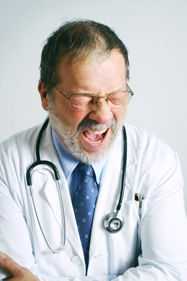 Müder Doktor stockfotos